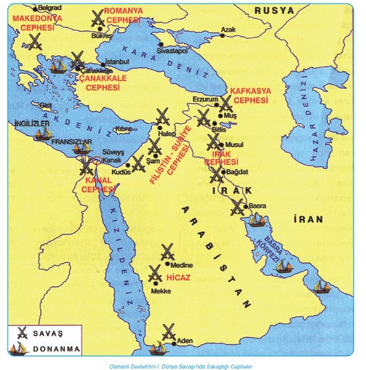 Osmanlı Devleti'nin 1. Dünya Savaşı'nda Savaştığı Cepheler